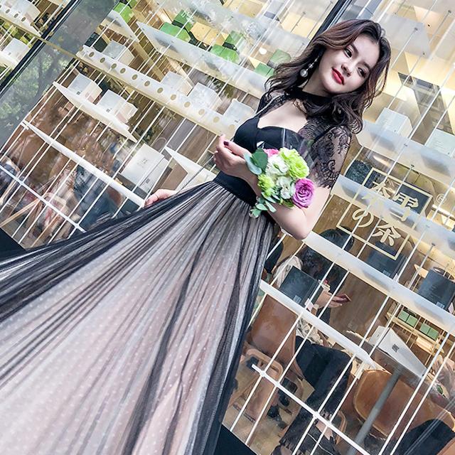 結婚式 ドット柄 ドレス