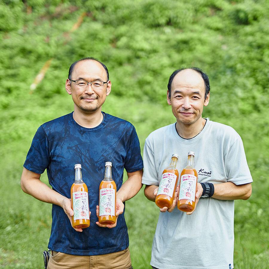 南郷トマトのおいしさを広く伝えることに情熱を注ぐ近藤一夫さんと近藤宏明さん。