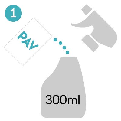 ①本品1包を300ml程度のスプレーボトルに入れ、水またはぬるま湯を入れてください。
