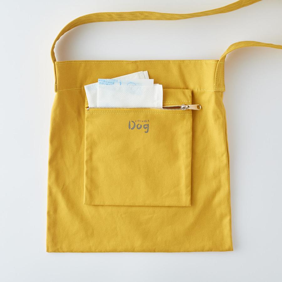 犬のフン袋を入れるのに便利なポーチ。使用済み時はポーチを外側に付けて
