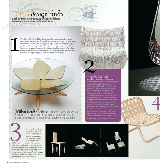 chosen for top 5 design in Milan salone 2009