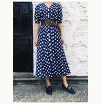 80'a Dot printed long dress