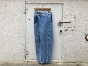 "MAISON EUREKA  "" VINTAGE REWORK BIGGY PANTS BLUE C """