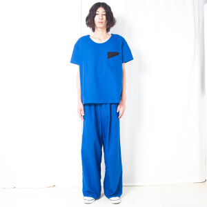 COTTON LINEN WIDE PANTS / BLUE
