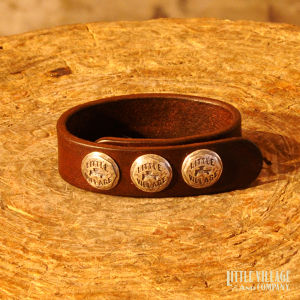 """Leather Bracelet w/ 3 Buttons / """"S,M"""" / Silver 925 / Brown"""