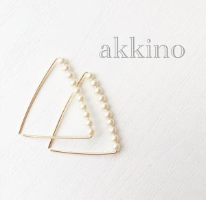 【14kgf wire】triangle△frameピアス(クリーム)