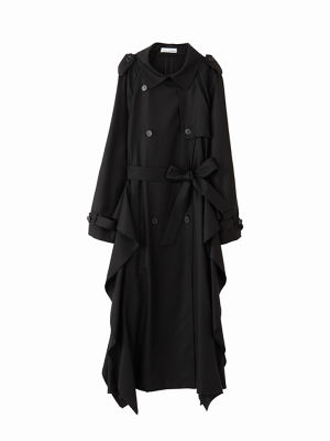 Frill trench coat  / black / W15CO03-1