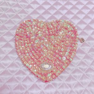 spangle heart pouch