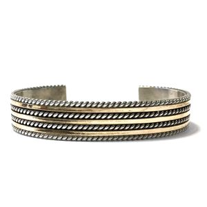 Navajo Vintage Sterling Silver & 12k Gold Twisted Wire Bangle by Tahe