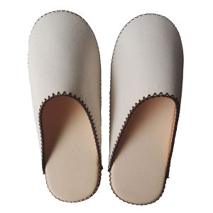 【Small】TOKYO Lether simple slippers [White] Chrome-free (0011-003S)
