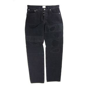 PATCHWORK CORDUROY PANTS BLACK