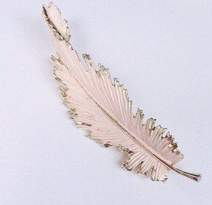 pink feather brooch[b-113]