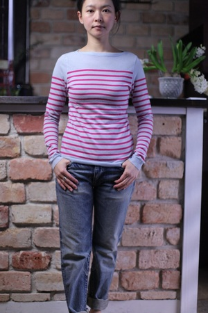 【SALE30%OFF】Cashmere border knit ライトブルー×スカーレット
