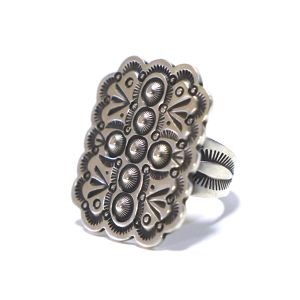 Navajo Sterling Silver Cross Repousse Plate Ring by Herman Smith