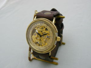 "手作り時計 HndCraftWatch 手巻きBrass JUMBO ""Big Wheel2-BHW"" GD/BR"