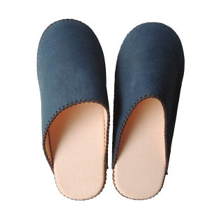 【Small】TOKYO Lether simple slippers [Blue suède] Chrome-free (0011-001S)