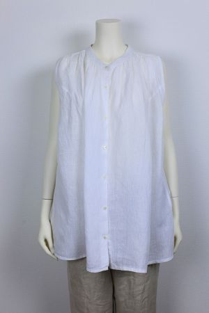 【対象外】KHADI LINEN Gathers Blouse 品番:271513 col.10 White