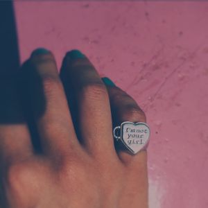 """I'm not your girl."" SILVER925 PinkyRing&Necklace  #003"