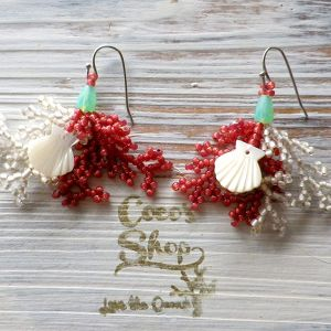 ◆SALE ¥300 OFF◆ Coralreef motif Pierce -Shell Red-