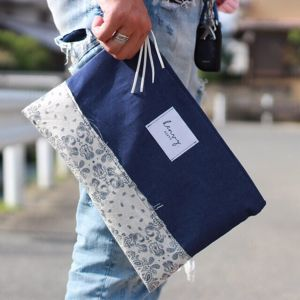 denim paisley clutchbag