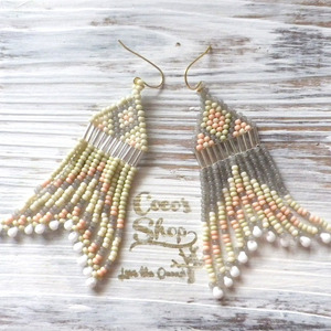 Hippie&Ethnic Fringe Pierce    -Gray&Green-