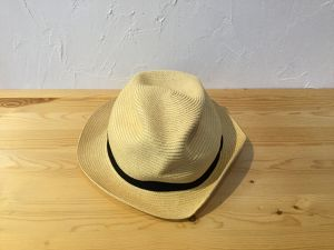 "mature ha "" BOXED HAT  4.5cm brim  Natural × Black """