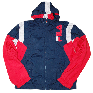 """90s Fila"" Vintage Hooded Nylon Jaket Used"