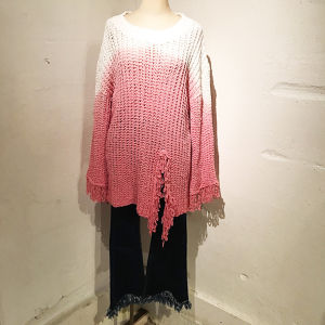 Gradation Fringe Knit / Pink