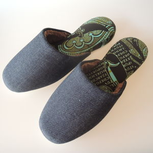 【XL size】 ボア付 [Warm] Denim mix slippers〈pens&typography〉XL size