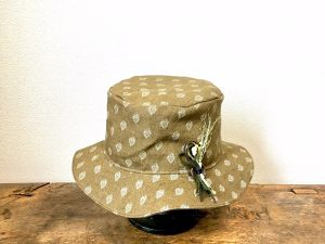 leaf linen hat:brown