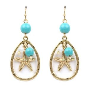 2 drop Metal Starfish with Charm Pierce (PE0900)