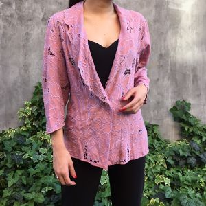 80's pink cutwork lace jacket