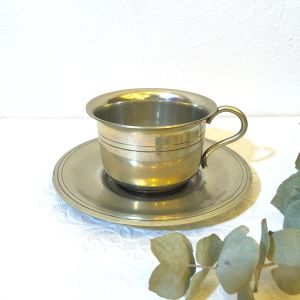 Antique Silver Cup&Saucer made in BELGIUM   [SAC-1]
