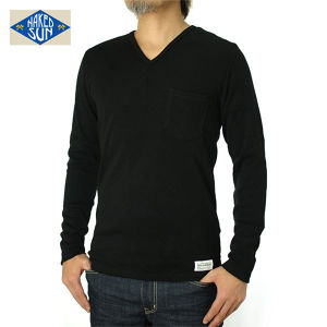 014005015(KNIT SEW V-NECK L/S )BLACK