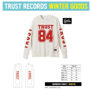 TRUST RECORDS 【NUMBER 84 SWEAT】ホワイト