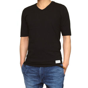 014006003(1/2 SLEEVE V-NECK TEE)BLACK