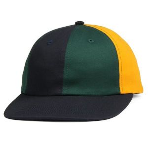 BUTTER GOODS PATCHWORK 6 PANEL CAP NAVY / FOREST / YELLOW