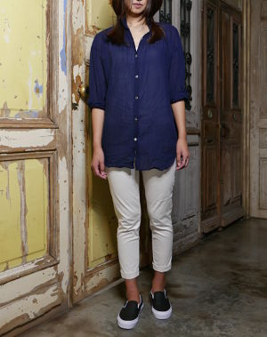 Ladys, CL002  8th Trousers(エイトトラウザース)白ストレッチピケ