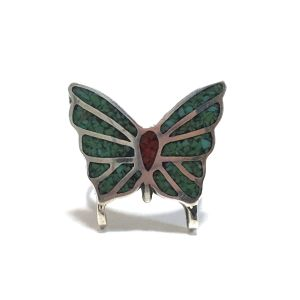 70's Vintage Navajo Sterling Silver Turquoise & Coral Chip Inlay Papillon Ring