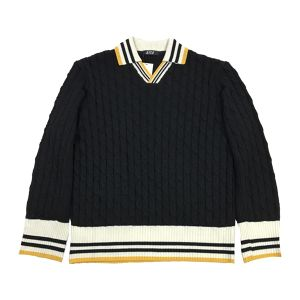D.TT.K OVERSIZE KNIT POLO BLACK