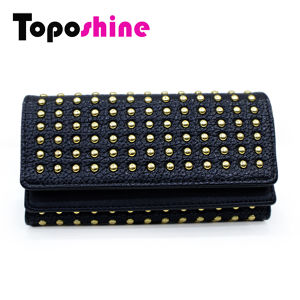 Toposhine 2016 New Fashion Women Wallets Rivet Synthetic  Leather Wallet Women's Long Design Purse Two Fold 2 Color  Clutch 2207