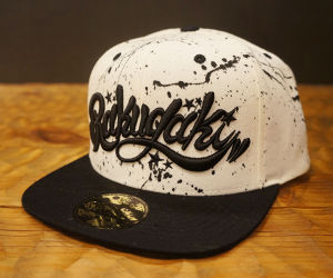 "RAKUGAKI Main logo ""Hand Paint"" Snap Back Cap Natural/Black x Black"