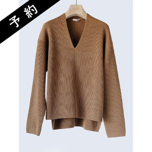 【予約商品】AURALEE SUPER FINE WOOL RIB KNIT V NECK P/O