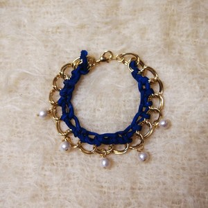 Cotton Pearl Bracelet (NAVY)