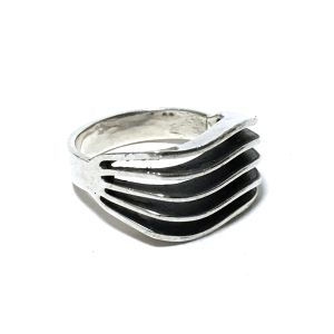Navajo Sterling Silver Five Sprit Wave Ring by James Bahe
