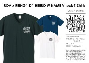 "ROA x REING""D""HERO W NAME Vneck T-shirts"