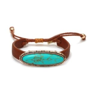 Oval Motif with Lether Bracelet (TB0012)