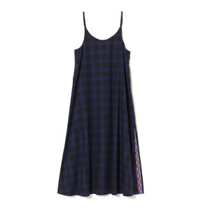 White Mountaineering / CHECK OX ONE-PIECE DRESS[NAVY]