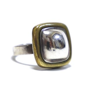 Vintage Sterling Silver & Brass Mexican Square Ring