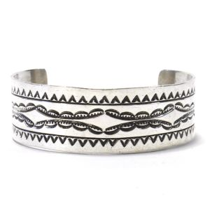 Navajo Vintage Sterling Silver Stamp Bangle by Phil Chapo